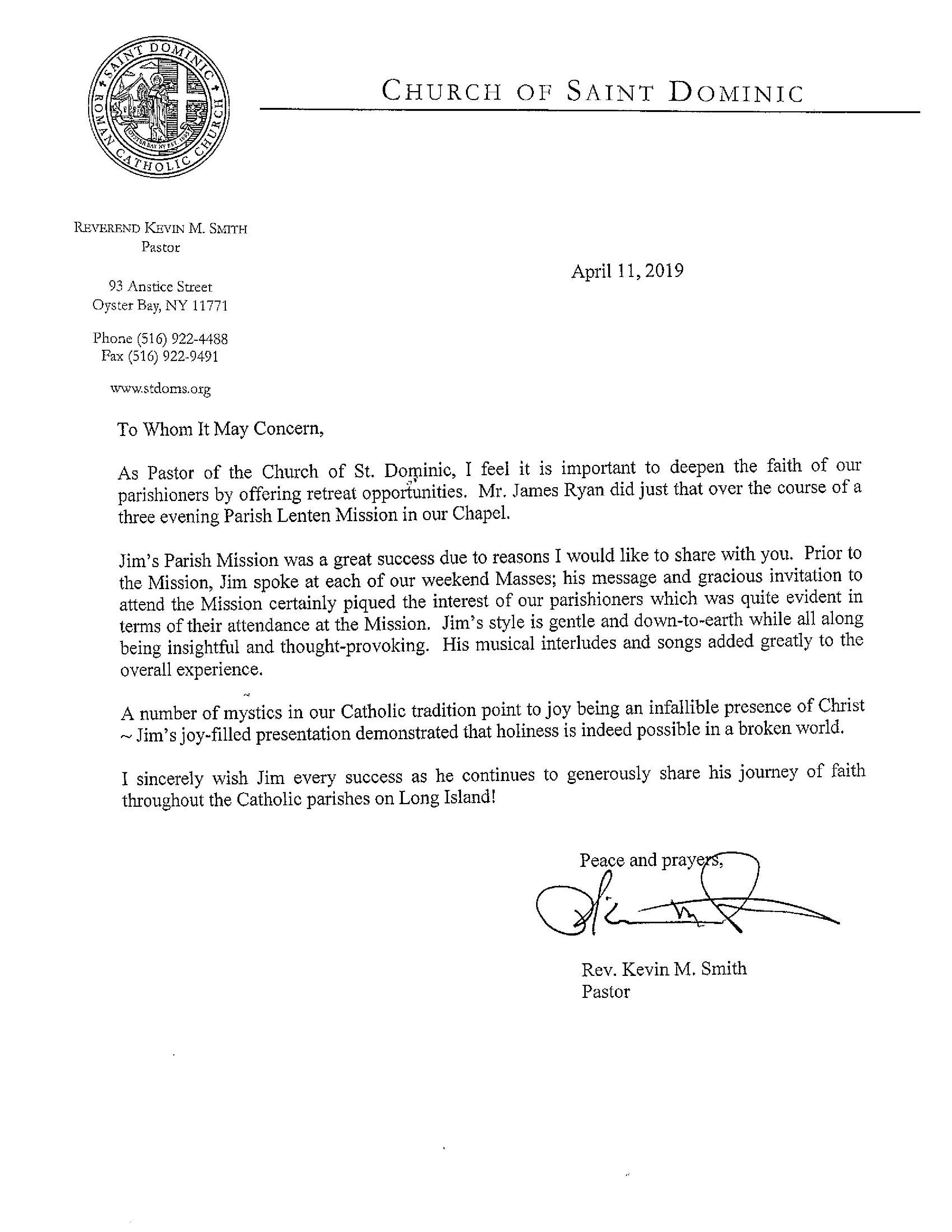 Pastor Letter